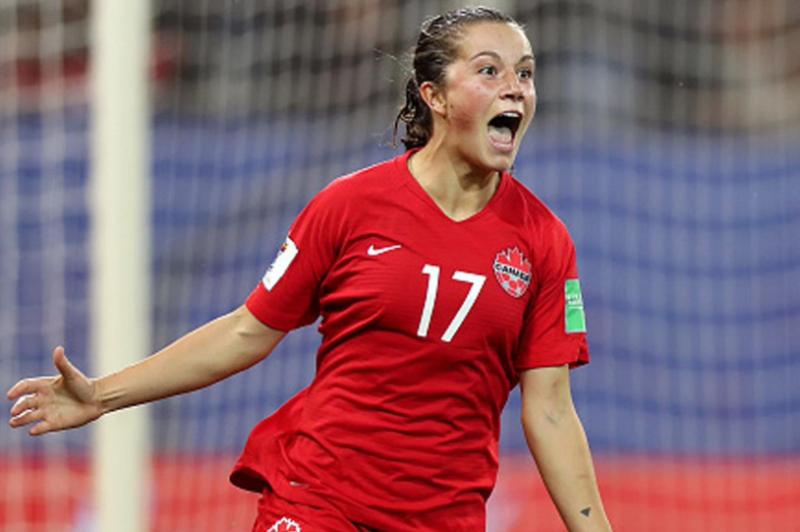 Jessie Fleming of London celebrates scoring her first World Cup goal on Saturday, June 15, 2019. (Twitter / TSN_Sports)