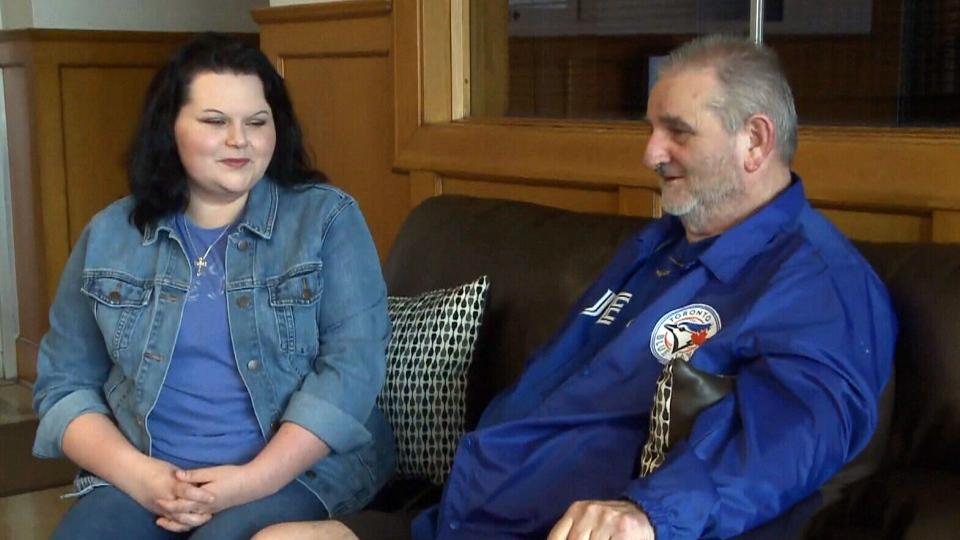 Natasha McGean is raising money to help her father Glen McGean see a Toronto Blue Jays game.