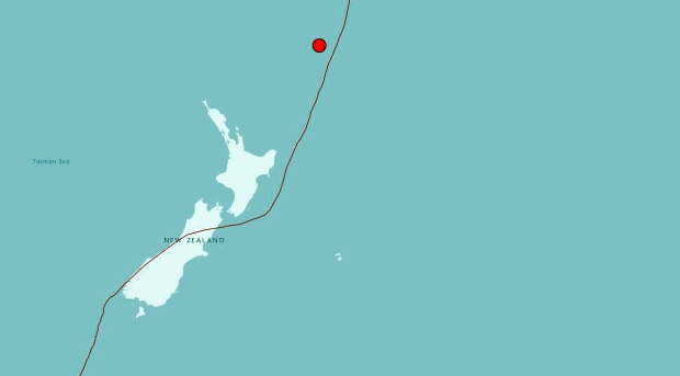 earthquake north of New Zealand.
