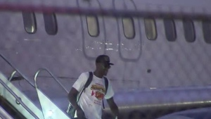 Pascal Siakam arrives at Toronto's Pearson International Airport, on Saturday, June 15, 2019.