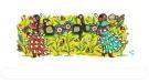 This Google doodle shows work by Ojibwe artist Joshua Mangeshig Pawis-Steckley.