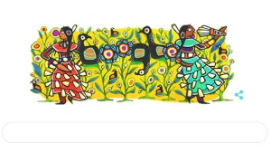 This Google doodle shows work by Ojibwe artist Joshua Mangeshig Pawis-Steckley.