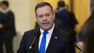 Alberta Premier Jason Kenney speaks to reporters after appearing at the Standing Senate Committee on Energy, the Environment and Natural Resources about Bill C-69 at the Senate of Canada Building on Parliament Hill in Ottawa on Thursday, May 2, 2019. (THE CANADIAN PRESS/Justin Tang)