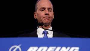 In this Monday, April 29, 2019 file photo, Boeing Chief Executive Dennis Muilenburg speaks during a news conference after the company's annual shareholders meeting at the Field Museum in Chicago. (AP Photo/Jim Young, file)