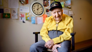FILE - In this May 6, 2019, file photo, John R. Frey, a U.S. Army veteran, poses for a portrait next to cards and mementos he has been given at the Mervyn Sharp Bennion Central Utah Veterans Home in Payson, Utah. (Isaac Hale/The Daily Herald via AP, File)