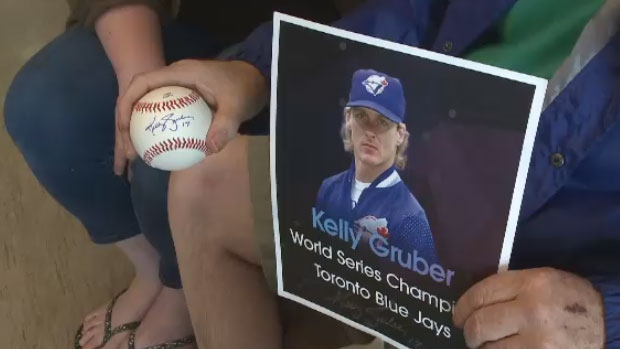 A signed baseball and picture from former Toronto Blue Jays slugger Kelly Gruber arrived Saturday night.