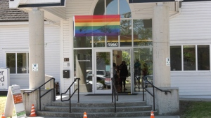Members of the Ladner United Church congregation were greeted by vandalized Pride flag Sunday, June 16, 2019.