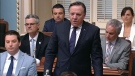 Premier Francois Legault speaks in the National Assembly. The CAQ government is in day two of it's marathon session, as they work to force the adoption of their controversial Bill 21.