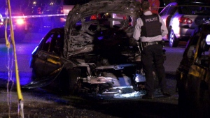 RCMP are investigating a suspicious car fire along Maywood Street near Willingdon Avenue.
