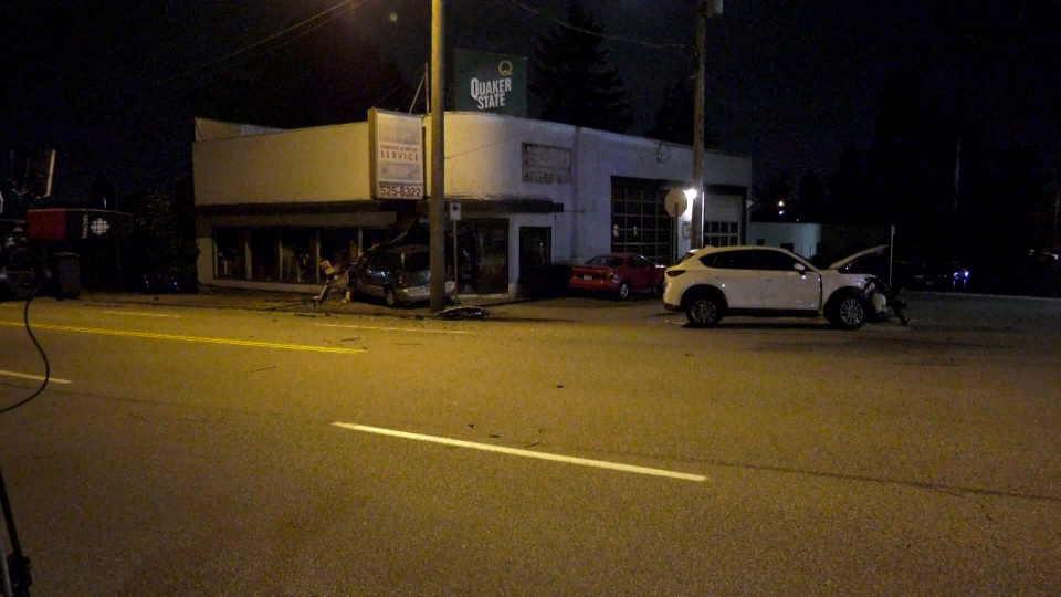 A vehicle crashed into an automotive shop on Kingsway at 12th Avenue in Burnaby on Sunday, June 16, 2019.
