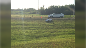 One man is in hospital after a motorcycle crash on the the Anthony Henday Drive off-ramp leading onto 87 Avenue
