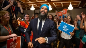 NDP Leader Jagmeet Singh speaks to delegates and supporters at the Ontario NDP Convention in Hamilton, Ont., Sunday, June 16, 2019. THE CANADIAN PRESS/Tara Walton