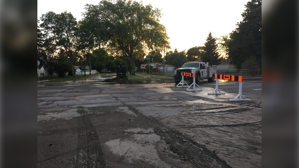 A water main break has shut down 82 Street down in both directions between 118 Avenue and 122 Avenue