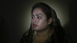 In this May 14, 2019, photo, Pakistani Christian Natasha Masih, speaks to the Associated Press in Faisalabad, Pakistan. (AP Photo/K.M. Chaudary)