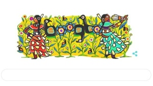 This Google doodle shows work by Ojibwe artist Joshua Mangeshig Pawis-Steckley