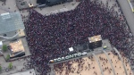 Fans gather at Nathan Phillips Square ahead of a victory parade and rally for the Toronto Raptors.
