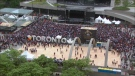 Toronto Raptors fans are seen waiting for the victory parade to begin at Nathan Phillips Square on June 17, 2019.