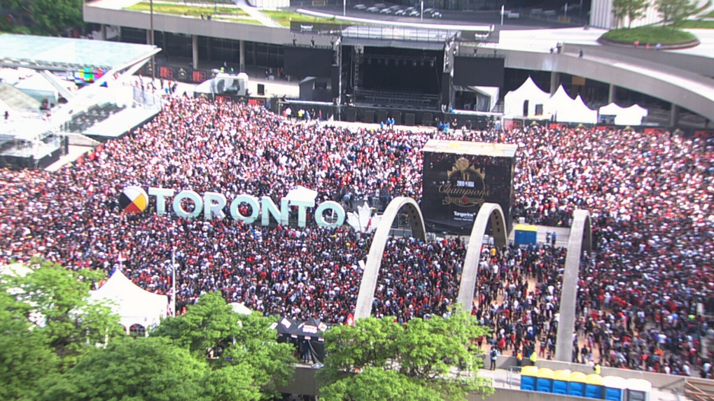 Thousands gathering for historic Toronto Raptors parade and rally