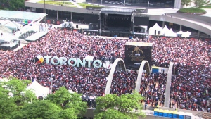 Huge crowds gather at Nathan Phillips Square ahead of the Toronto Raptors victory parade, Monday, June 17, 2019.