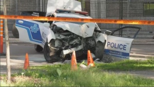 One police officer is recovering from lower-body injuries after his cruiser crashed into a tree at the corner of Park Avenue and Mont Royal on Monday, June 17, 2019 (CTV Montreal/JL Boulch)