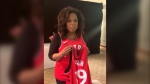 Oprah Winfrey toyed with wearing a personalized Raptors team jersey at her Montreal stop of a new book tour on Sunday before settling on a jacket over her dress.