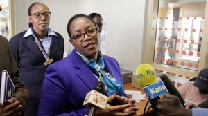 Kenya's health minister Sicily Kariuki speaks to the media about measures the government is taking to prevent Ebola, at the Jomo Kenyatta International Airport in Nairobi, Kenya Monday, June 17, 2019. (AP Photo/Khalil Senosi)
