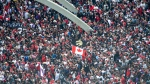 Fans pack Nathan Phillips Square at City Hall ahead of the 2019 Toronto Raptors Championship parade in Toronto, on Monday, June 17, 2019. THE CANADIAN PRESS/Andrew Lahodynskyj