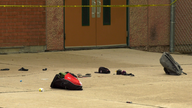 A backpack and some clothing are pictured outside of John M. King School. CTV photo