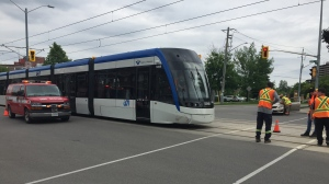 An LRT vehicle was involved in a crash at King & Union in Waterloo. (June 17, 2019)