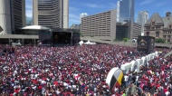 Singing of 'O Canada' at Nathan Phillips Square