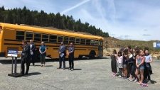 Education Minister Rob Fleming announces funding for new schools in Langford on June 17, 2019. (Sooke School District)