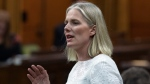 Environment Minister Catherine McKenna rises during Question Period in the House of Commons on Parliament Hill in Ottawa on Thursday, June 13, 2019.  THE CANADIAN PRESS/Fred Chartrand