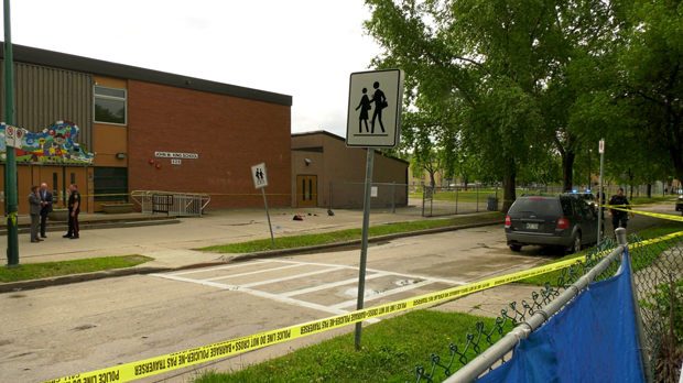 The shooting of a man outside John M. King School is the 23rd homicide this year in Winnipeg. (CTV photo)