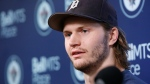 Winnipeg Jets' Jacob Trouba speaks to media at their closing press conference after losing in the first round of the NHL playoffs in Winnipeg on Monday, April 22, 2019. (THE CANADIAN PRESS/John Woods)