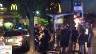 Dramatic takedown after stabbing near McDonald's