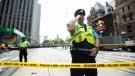 Toronto Police secure the scene after shots were fired during the 2019 Toronto Raptors Championship parade in Toronto, on Monday, June 17, 2019. THE CANADIAN PRESS/Andrew Lahodynskyj