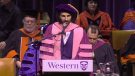 Stephan Moccio speaks at Western's 313th Convocation. (Courtesy You Tube)