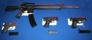 Guns seized as part of Vancouver Police's Project Rebellion are seen in a police handout photo. August 13, 2009.