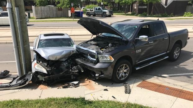 Two-car crash on Charles St. in Kitchener. (June 18, 2019)