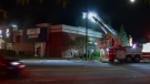 Firefighters put out an arson at a building that houses a spa and restaurants in Cote des Neiges (CTV Montreal/Cosmo Santamaria)