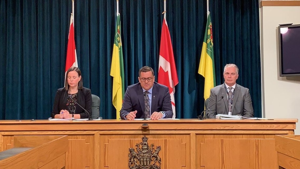The Government of Saskatchewan at an announcement of a new program, that is meant to help people on income assistance become more self-sufficient and overcome challenges. (Colton Wiens / CTV Regina).