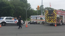 Officers responded to the crash on Dougall Avenue at E.C. Row Expressway in Windsor, Ont., on Monday, June 18, 2019. (Bob Bellacicco / CTV Windsor)