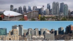 The Calgary skyline is seen top, with the Ottawa skyline below. (THE CANADIAN PRESS/Jeff McIntosh/Adrian Wyld)
