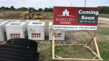 Maple City Homes site in Chatham-Kent, Ont., on Tuesday, June 18, 2019. (Chris Campbell / CTV Windsor)