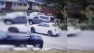 A white car is captured on video surveillance after hitting a boy riding a bike on Sunday. June 16, 2019