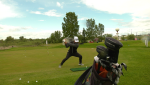Golfer Mathias Schjoelberg says the key to hitting a trick shot is using your imagination.
