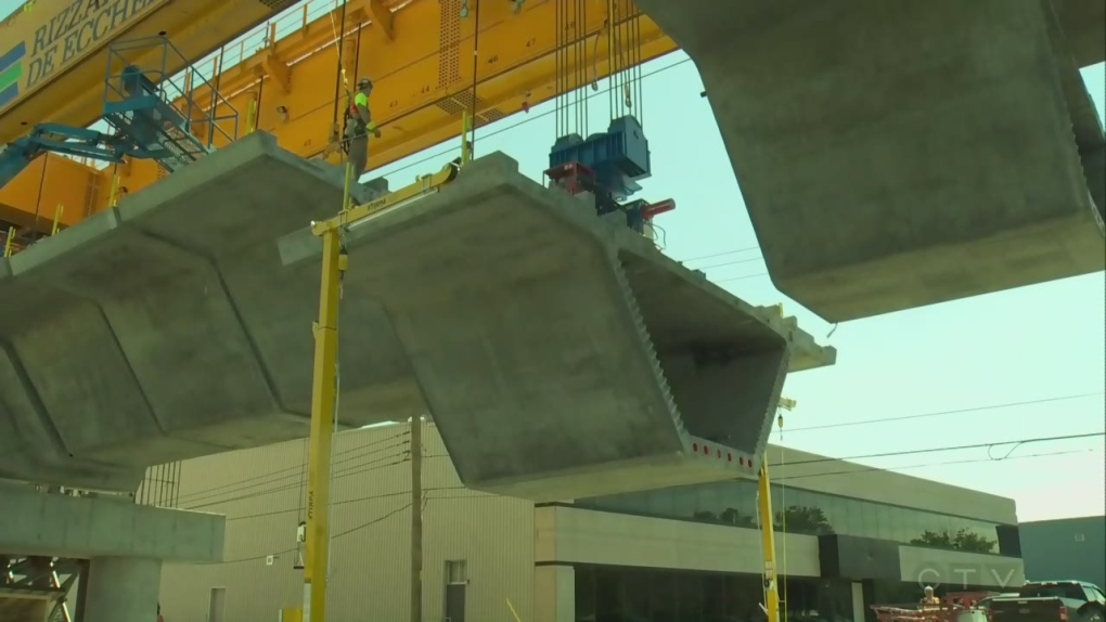 REM crews using advanced techniques to quickly build kilometres of elevated tracks