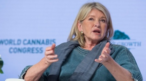 Martha Stewart, the food and lifestyles guru, addresses the audience at the World Cannabis Congress in Saint John, New Brunswick on Tuesday, June 18, 2019. THE CANADIAN PRESS/Andrew Vaughan