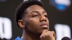 Duke forward R.J. Barrett listens during an NCAA men's college basketball news conference in Washington, Saturday, March 30, 2019. THE CANADIAN PRESS/AP/Alex Brandon