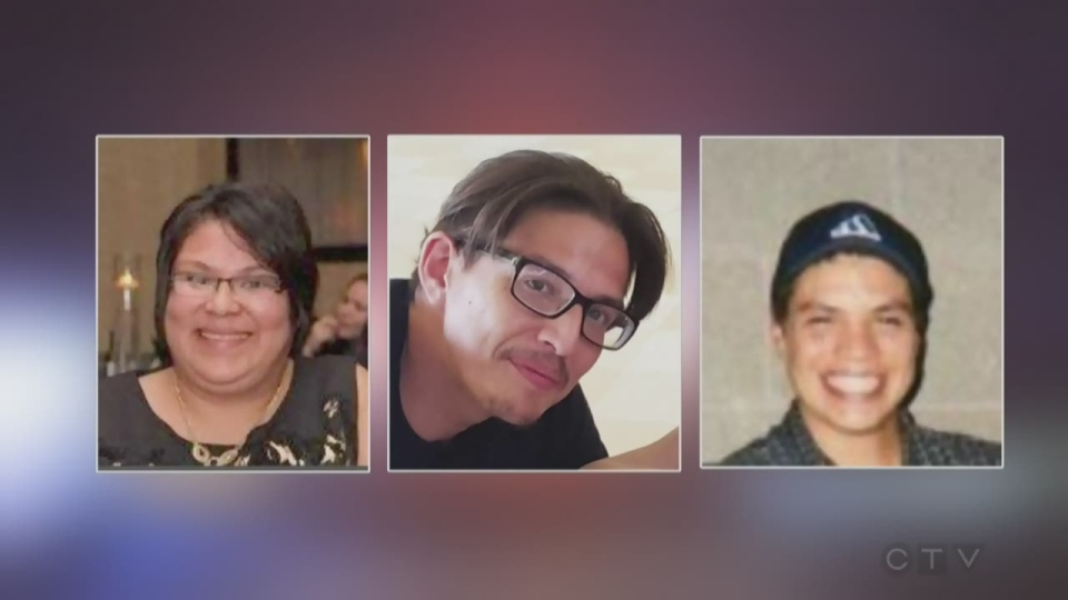 From left, Melissa Miller, Alan Porter and Michael Jamieson, all residents of Six Nations of the Grand River, were found dead in Middlesex Centre, Ont. on Nov. 4, 2018. (Source: OPP)